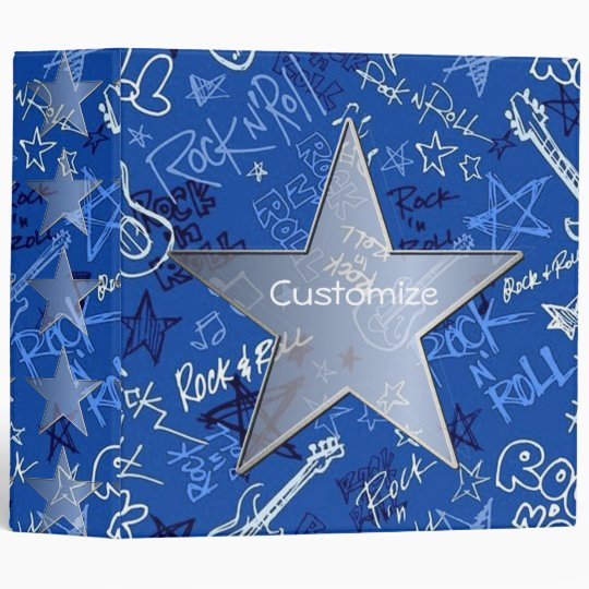 Personalized Rock And Roll Rock Star Blue Binder
