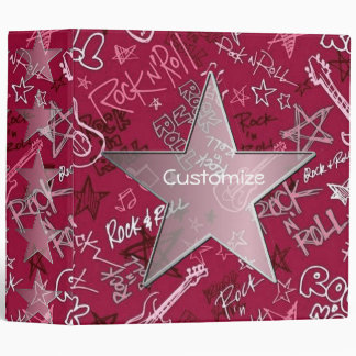 Personalized Rock and Roll Rock Star Red Binder