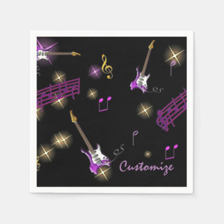 Personalized Rock Star Music Background Napkins