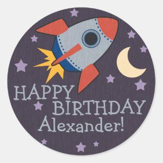 Personalized Rocket Kids Birthday Stickers