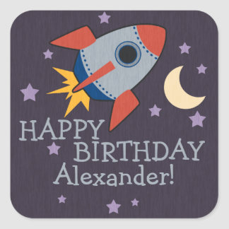 Personalized Rocket Kids Birthday Stickers Square