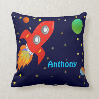 Personalized Rocket Ship Throw Pillow