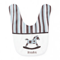 Personalized Rocking Horse And Stripes Baby Bib