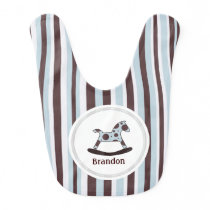 Personalized Rocking Horse And Stripes Baby Bib 3