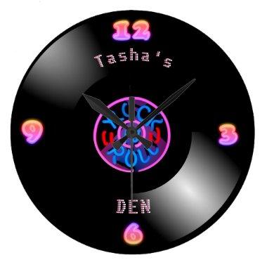 Personalized RocknRoll Clock Neon Vinyl Record LP
