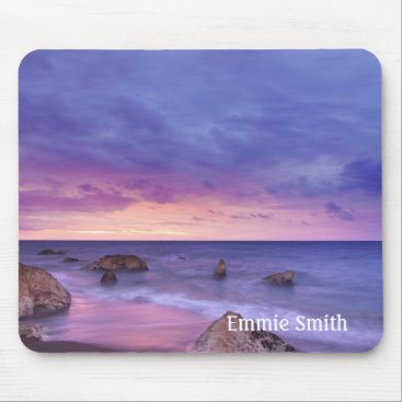 Beach Themed Personalized Rocky Beach at Sunset Mouse Pad