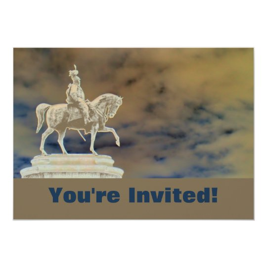 Personalized Roman Soldier Statue Bon Voyage Party Card