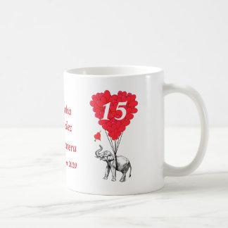 Personalized romantic elephant Quinceanera Classic White Coffee Mug