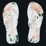 """Personalized Romantic garden floral bridesmaid Flip Flops<br><div class=""""desc"""">Modern watercolor peach floral and botanical greenery,  elegant and romantic,   great personalized bridal party bridesmaid gifts</div>"""