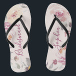 "Personalized romantic garden floral bridesmaid flip flops<br><div class=""desc"">Modern watercolor floral in muted pastel yellow,  peach and mauve,  elegant and romantic,   great personalized bridal party bridesmaid gifts</div>"