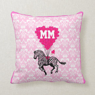 Personalized romantic pink heart throw pillow