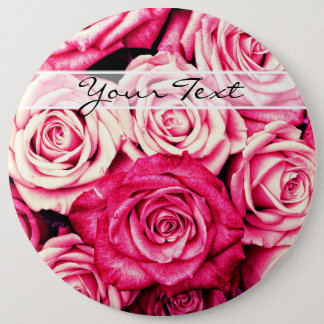 Personalized Romantic Pink Roses Button