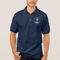 Personalized Rope and Anchor Print Logo Polo Shirt