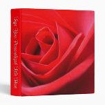 Personalized Rose Binder Red Rose School Binder