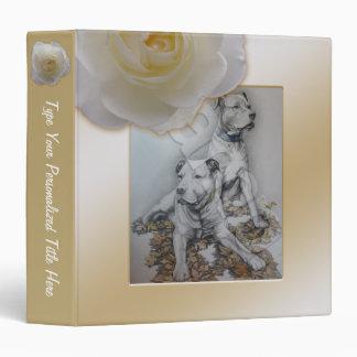 Personalized Rose Binder White Rose School Binder Vinyl Binder