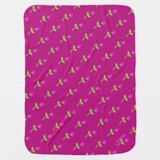 Personalized Rose Bud Pattern Receiving Blanket