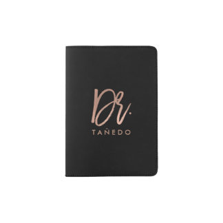 Personalized Rose Gold Brush Script Passport Holder