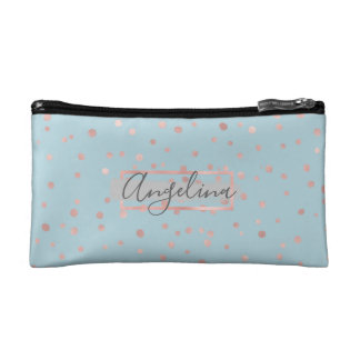 Personalized Rose Gold Dots Ice Blue Cosmetic Bag