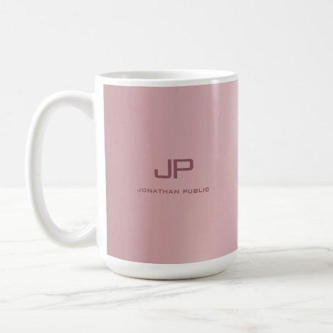 Personalized Rose Gold Elegant Monogrammed Coffee Mug