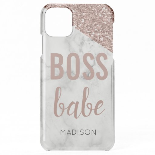 Personalized Rose Gold Glitter | Marble  Boss Babe iPhone 11 Pro Max Case