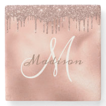 Personalized Rose Gold Glitter Monogram Custom Stone Coaster