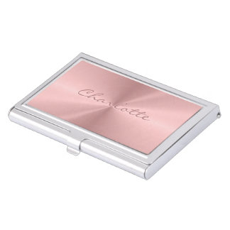 Personalized Rose Gold Stainless Steel Metallic Business Card Holder