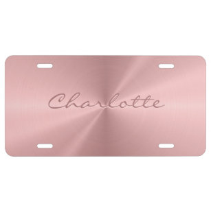 Personalized Rose Gold Stainless Steel Metallic License Plate
