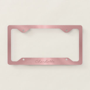 Personalized Rose Gold Stainless Steel Metallic License Plate Frame