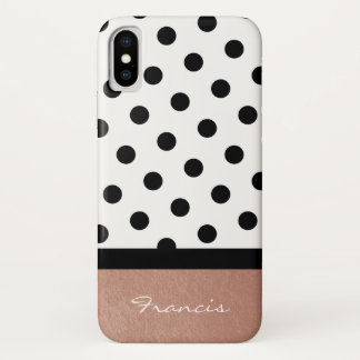 Personalized Rose Gold White and Black Polka Dot iPhone X Case