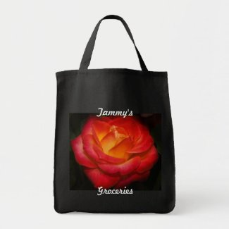 Personalized Rose Grocery Tote Bags