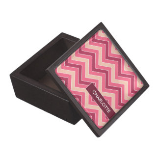Personalized Rose Red Chevrons Jewelry/Trinket Box Premium Gift Boxes