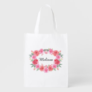 Personalized rose wreath name bridal reusable grocery bag