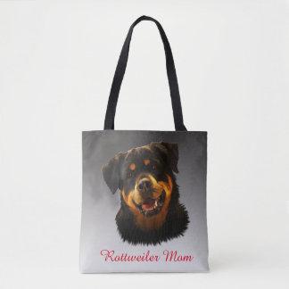 Personalized Rottweiler Dog Color Art Portrait Tote Bag