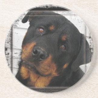 Personalized rottweiler sandstone coaster