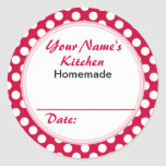 Personalized Round Baking Cooking Labels Red Dots Classic Round Sticker