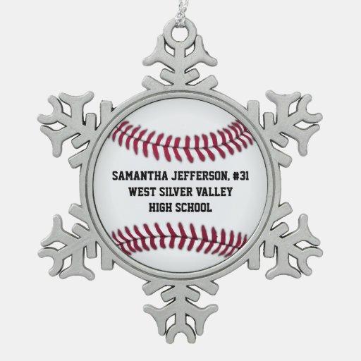 Personalized Round Baseball Sports Ornaments