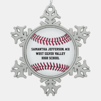 Personalized Round Baseball Sports Snowflake Pewter Christmas Ornament