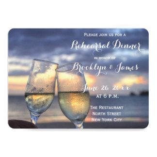Personalized Round Beach Wedding Rehearsal Invites