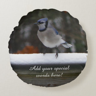 Personalized Round Blue Jay Bird Pillow