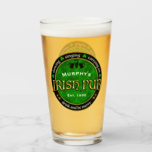 Personalized, Round Irish Pub Logo Glass