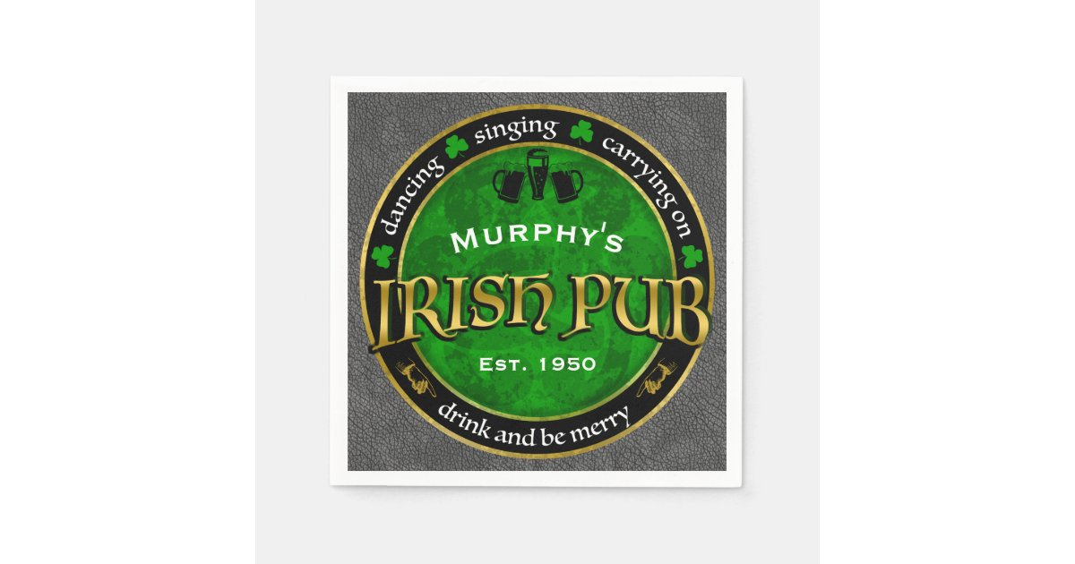 Personalized Round Irish Pub Logo Napkin Zazzle Com