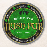 "Personalized, Round Irish Pub Logo Round Paper Coaster<br><div class=""desc"">Irish pub logo that you can personalize with a name and date,  or other text.</div>"