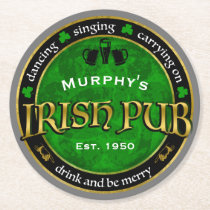 Personalized, Round Irish Pub Logo Round Paper Coaster