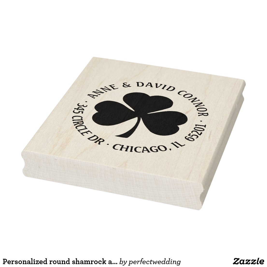 Personalized round shamrock address stamp