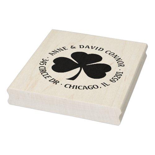 Personalized round shamrock address stamp