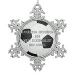 Personalized Round Soccer Ball Sports Snowflake Pewter Christmas Ornament