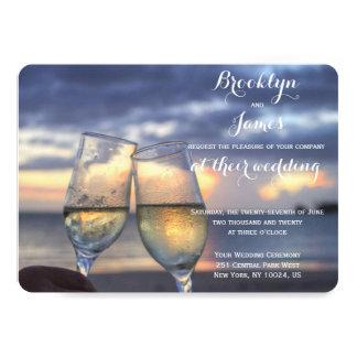 "Personalized Round Sunset Beach Wedding Invites 5"" X 7"" Invitation Card"