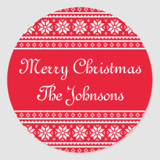 Personalized round UGLY CHRISTMAS SWEATER stickers