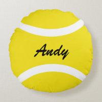 Personalized round yellow tennis ball throw pillow