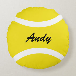 Personalized round yellow tennis ball throw pillow